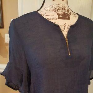 Navy blouse gold zipper at chest ruffled short sle